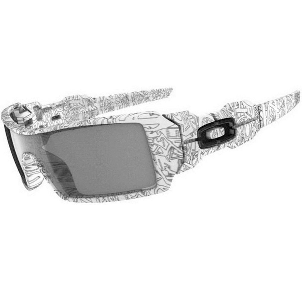 Oakley Oil Rig Sunglasses - White / Grey / Text Print Paint