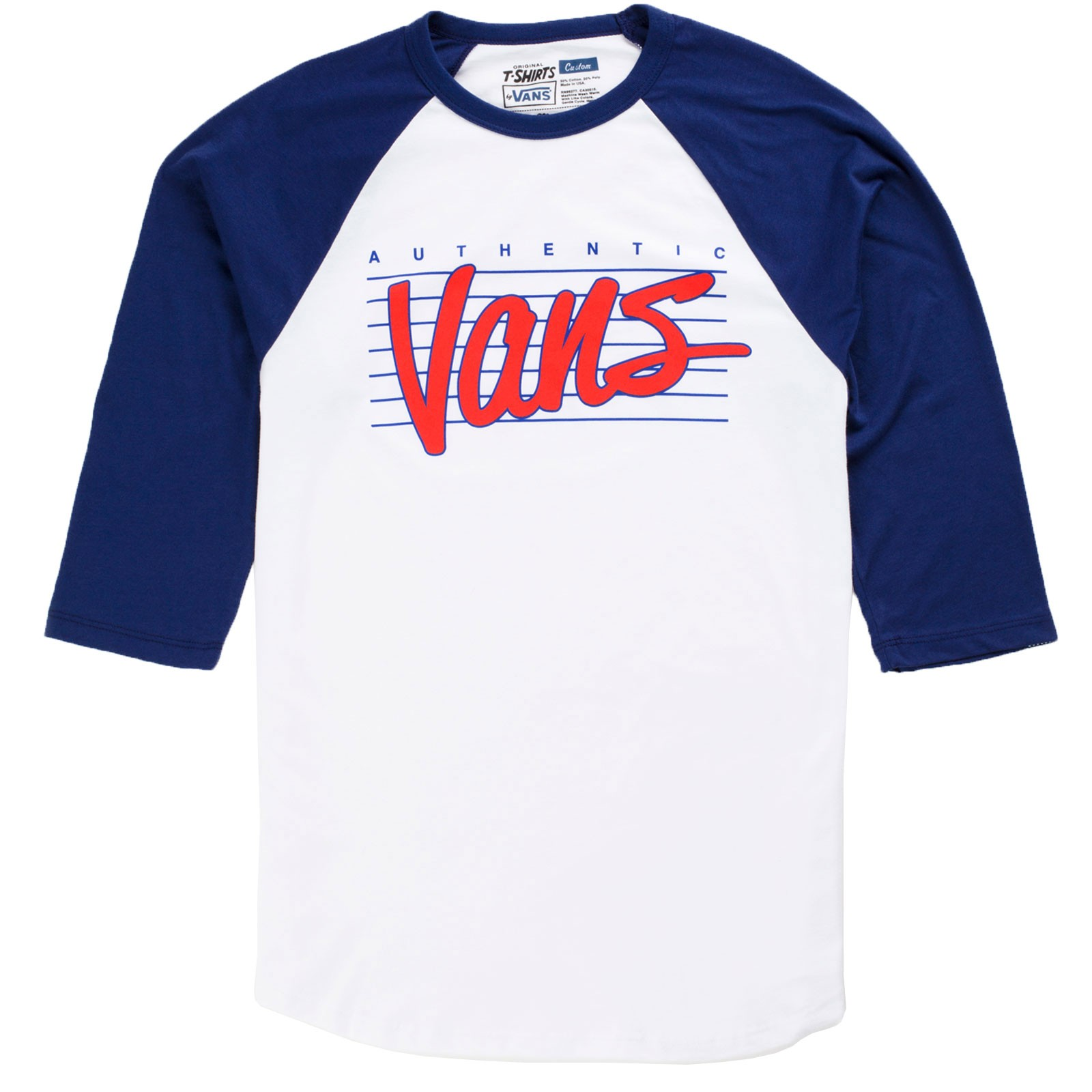 Vans Authentic Raglan Youth Shirt - White / Blueprint